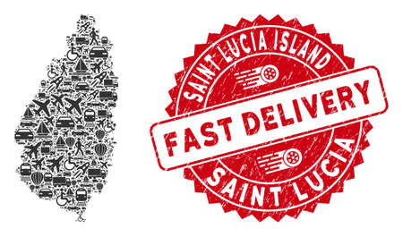Transportation collage Saint Lucia Island map and rubber stamp seal with FAST DELIVERY words. Saint Lucia Island map collage formed with gray scattered shipment symbols.