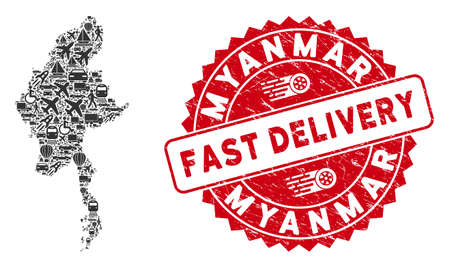 Shipping mosaic Myanmar map and rubber stamp seal with FAST DELIVERY text. Myanmar map collage formed with gray random traffic items. Red round FAST DELIVERY seal stamp with distress texture.