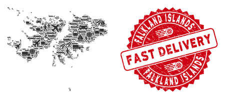 Delivery collage Falkland Islands map and distressed stamp seal with FAST DELIVERY message. Falkland Islands map collage created with gray random traffic symbols.
