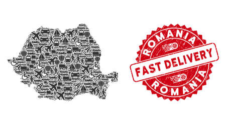 Delivery mosaic Romania map and rubber stamp seal with FAST DELIVERY badge. Romania map collage composed with gray randomized automobile elements.