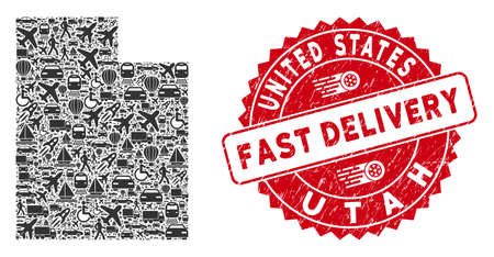 Transport collage Utah State map and grunge stamp seal with FAST DELIVERY badge. Utah State map collage created with grey random delivery items. 矢量图像