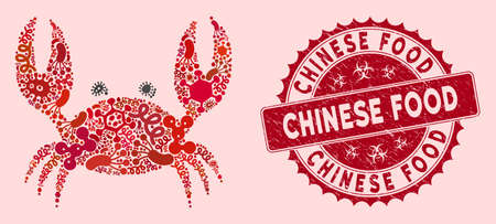 Pandemic mosaic crab icon and round distressed stamp seal with Chinese Food text. Mosaic vector is composed from crab icon and with random virus elements. Chinese Food stamp seal uses red color,