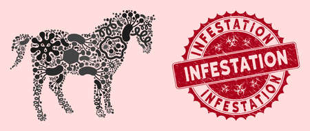 Infection mosaic horse icon and round rubber stamp seal with Infestation caption. Mosaic vector is designed with horse icon and with random microorganism elements.