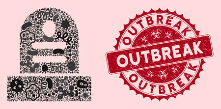 Microbe mosaic grave icon and rounded distressed stamp watermark with Outbreak caption. Mosaic vector is composed with grave icon and with randomized bacillus items. Outbreak stamp uses red color, 일러스트