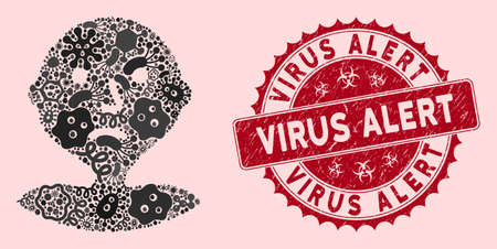 Microbe collage I am bored icon and round distressed stamp seal with Virus Alert phrase. Mosaic vector is created with I am bored icon and with random microbe cell symbols.