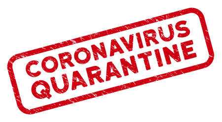 Coronavirus Quarantine rectangular framed stamp. Red vector rectangle textured seal stamp with Coronavirus Quarantine caption inside rounded rectangle contour.