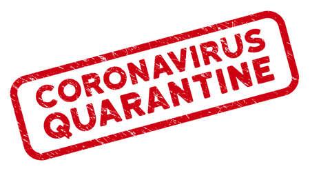 Coronavirus Quarantine rectangular framed stamp. Red vector rectangle textured seal stamp with Coronavirus Quarantine caption inside rounded rectangle contour.