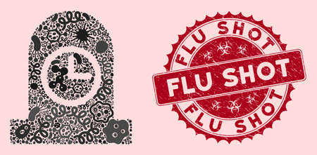 Fever mosaic expired grave icon and rounded distressed stamp seal with Flu Shot caption. Mosaic vector is composed with expired grave pictogram and with randomized epidemic symbols.