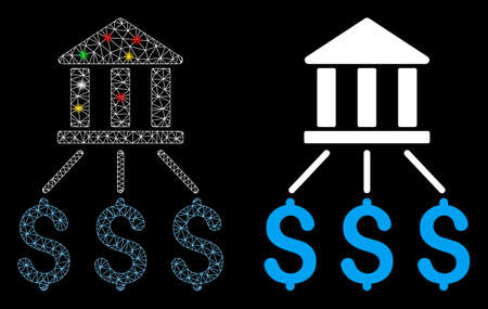 Glossy mesh bank payments icon with lightspot effect. Abstract illuminated model of bank payments. Shiny wire carcass polygonal network bank payments icon. Vector abstraction on a black background.