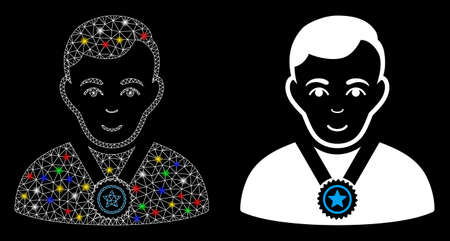 Glossy mesh champion icon with glitter effect. Abstract illuminated model of champion. Shiny wire frame polygonal network champion icon. Vector abstraction on a black background. Ilustrace