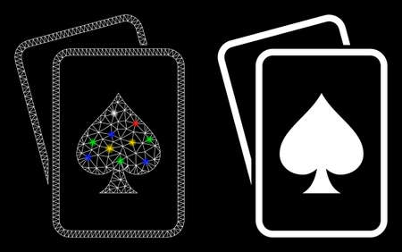 Bright mesh spade gambling cards icon with glitter effect. Abstract illuminated model of spade gambling cards. Shiny wire frame triangular mesh spade gambling cards icon.