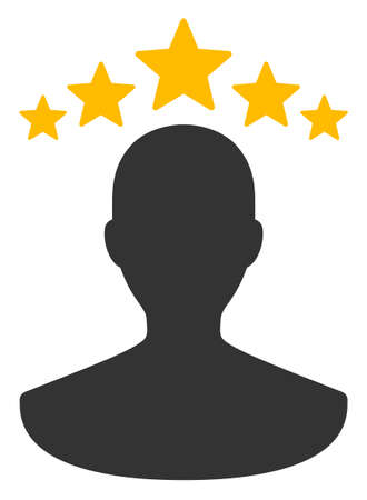 Raster user rating flat icon. Raster pictogram style is a flat symbol user rating icon on a white background. Banco de Imagens