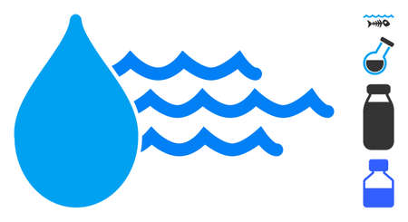 Water icon. Illustration contains vector flat water pictograph isolated on a white background, and bonus icons.