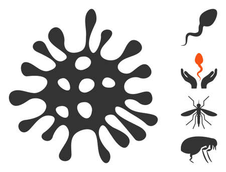 Microbe icon. Illustration contains vector flat microbe pictogram isolated on a white background, and bonus icons.