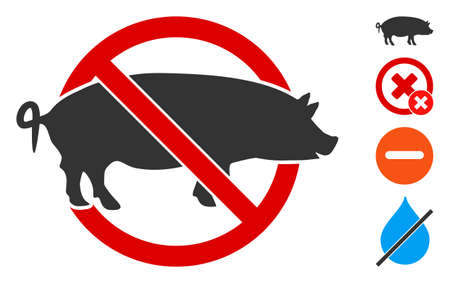 No swine icon. Illustration contains vector flat no swine pictogram isolated on a white background, and bonus icons. 矢量图像