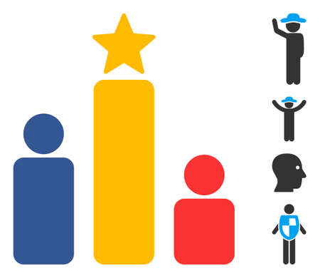 Social rating icon. Illustration contains vector flat social rating pictogram isolated on a white background, and bonus icons.