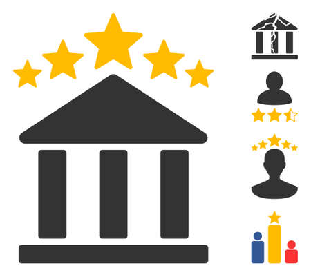 Bank rating icon. Illustration contains vector flat bank rating pictograph isolated on a white background, and bonus icons.
