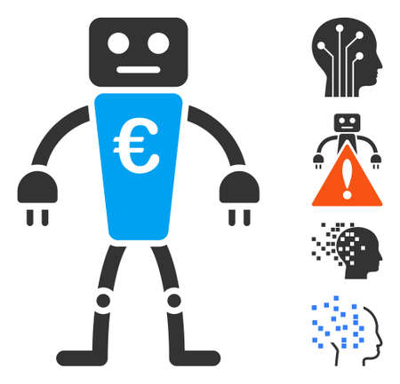 Euro robot icon. Illustration contains vector flat euro robot pictogram isolated on a white background, and bonus icons.