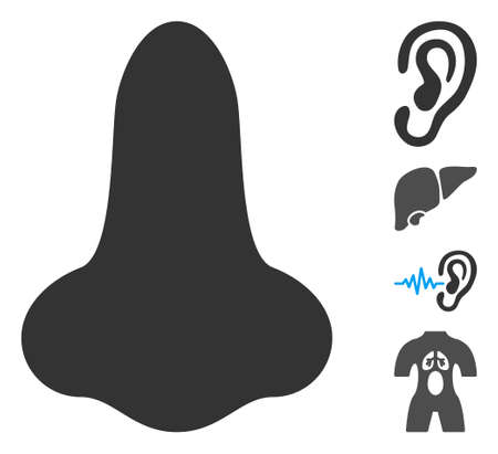 Nose icon. Illustration contains vector flat nose pictogram isolated on a white background, and bonus icons.