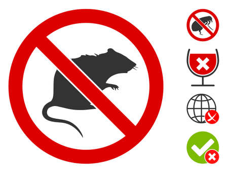 No rats icon. Illustration contains vector flat no rats pictograph isolated on a white background, and bonus icons. Ilustração
