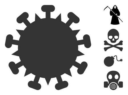 SARS virus icon. Illustration contains vector flat SARS virus iconic symbol isolated on a white background, and bonus icons. Ilustração