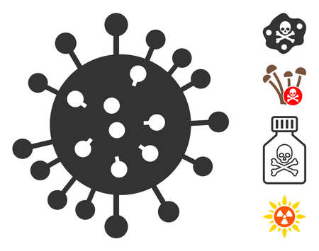 SARS virus icon. Illustration contains vector flat SARS virus pictograph isolated on a white background, and bonus icons.