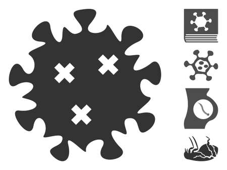 Infection virus icon. Illustration contains vector flat infection virus pictograph isolated on a white background, and bonus icons.