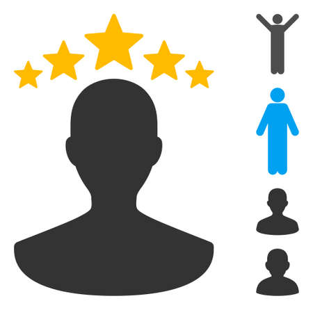 User rating icon. Illustration contains vector flat user rating pictogram isolated on a white background, and bonus icons. Ilustração