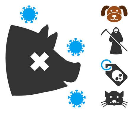 Swine flu icon. Illustration contains vector flat swine flu pictogram isolated on a white background, and bonus icons.