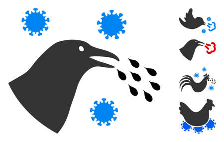 Bird flu infection icon. Illustration contains vector flat bird flu infection pictograph isolated on a white background, and bonus icons.