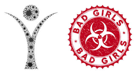 Coronavirus mosaic abstract man icon and rounded distressed stamp watermark with Bad Girls phrase. Mosaic vector is created with abstract man icon and with scattered microbe items.