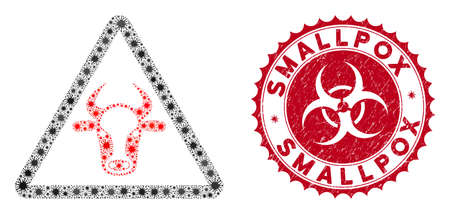 Coronavirus mosaic cow danger icon and rounded corroded stamp seal with Smallpox phrase. Mosaic vector is composed with cow danger pictogram and with randomized microbe objects.