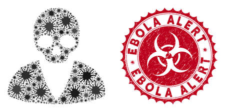 Coronavirus mosaic death man icon and rounded grunge stamp seal with Ebola Alert text. Mosaic vector is designed with death man pictogram and with randomized microbe cell symbols.