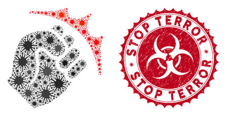 Coronavirus mosaic fist strike icon and round rubber stamp seal with Stop Terror caption. Mosaic vector is created with fist strike icon and with scattered bacterium elements.