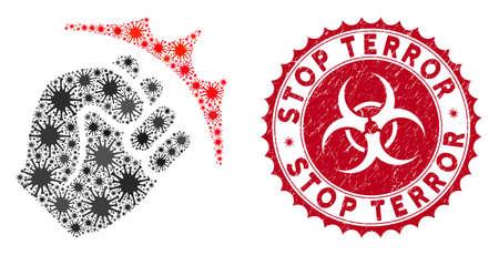 Icona di colpo del pugno del mosaico di coronavirus e sigillo rotondo del timbro di gomma con didascalia Stop Terror. Il vettore del mosaico viene creato con l'icona del pugno e con elementi di batteri sparsi. Vettoriali