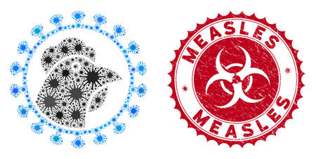 Coronavirus mosaic chicken flu virus icon and rounded rubber stamp seal with Measles phrase. Mosaic vector is designed with chicken flu virus icon and with randomized contagious symbols. Illustration