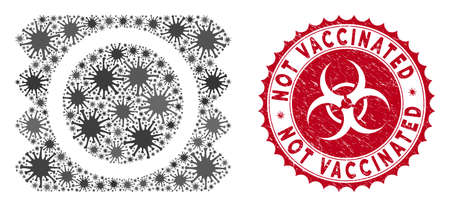 Coronavirus collage condom package icon and round rubber stamp watermark with Not Vaccinated phrase. Mosaic vector is created with condom package icon and with random sars elements.