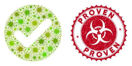 Coronavirus collage accept icon and round corroded stamp seal with Proven text. Mosaic vector is created with accept icon and with randomized bacteria items. Proven stamp seal uses biohazard style,
