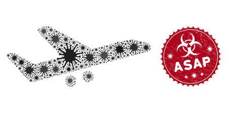Coronavirus mosaic aiplane icon and round distressed stamp watermark with Asap caption. Mosaic vector is designed with aiplane icon and with scattered pathogen symbols.