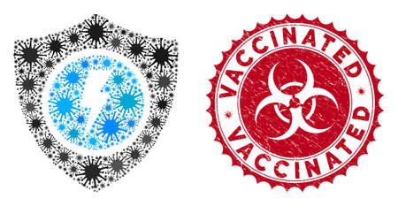 Coronavirus mosaic electric guard icon and rounded corroded stamp seal with Vaccinated text. Mosaic vector is created with electric guard icon and with random contagion icons. Çizim