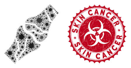 Coronavirus mosaic bone cancer icon and round grunge stamp seal with Skin Cancer text. Mosaic vector is designed with bone cancer icon and with randomized infection items.