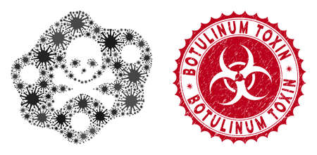 Coronavirus mosaic botulinum toxin icon and round distressed stamp seal with Botulinum Toxin phrase. Mosaic vector is formed with botulinum toxin icon and with random virus objects.