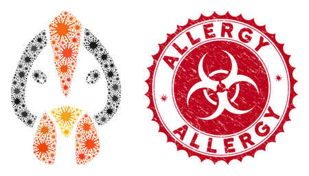Coronavirus mosaic chicken face icon and rounded grunge stamp seal with Allergy caption. Mosaic vector is designed with chicken face icon and with random viral icons.