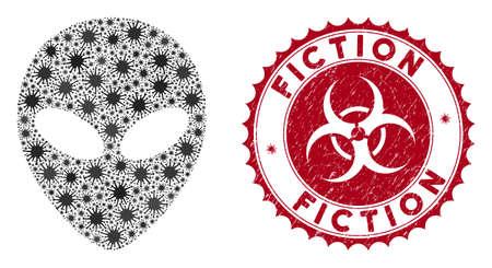 Coronavirus-Mosaik-Alien-Gesichtssymbol und abgerundetes Grunge-Stempelsiegel mit Fiction-Text. Der Mosaikvektor wird aus einem Alien-Gesichtssymbol und mit verstreuten Mikroorganismenobjekten erstellt.