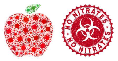 Coronavirus mosaic apple icon and rounded grunge stamp seal with No Nitrates phrase. Mosaic vector is created with apple icon and with random virus objects. Ilustracja