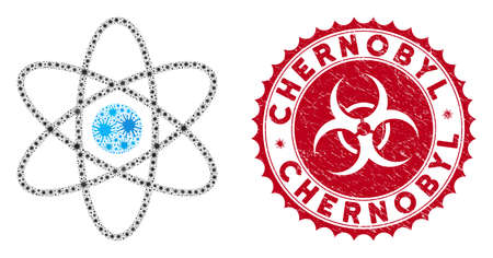 Coronavirus mosaic atom icon and round distressed stamp seal with Chernobyl text. Mosaic vector is created with atom icon and with randomized mers-cov elements. Chernobyl seal uses biohazard style,