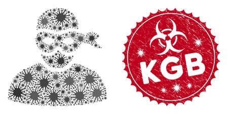 Coronavirus mosaic anonimious thief icon and rounded grunge stamp seal with KGB text. Mosaic vector is composed with anonimious thief icon and with randomized flu symbols. 版權商用圖片 - 138871526