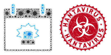 Coronavirus mosaic alert calendar day icon and rounded rubber stamp watermark with Hantavirus text. Mosaic vector is created from alert calendar day icon and with randomized infection symbols.