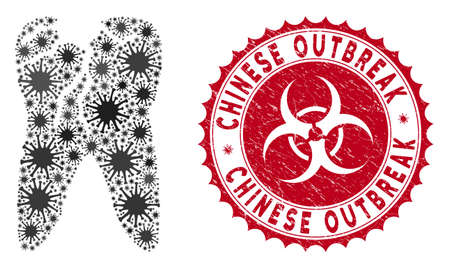 Coronavirus mosaic caries icon and round grunge stamp seal with Chinese Outbreak text. Mosaic vector is composed from caries icon and with random microbe objects.