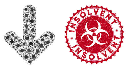 Coronavirus mosaic arrow down icon and rounded grunge stamp watermark with Insolvent phrase. Mosaic vector is composed with arrow down icon and with random pandemic objects.
